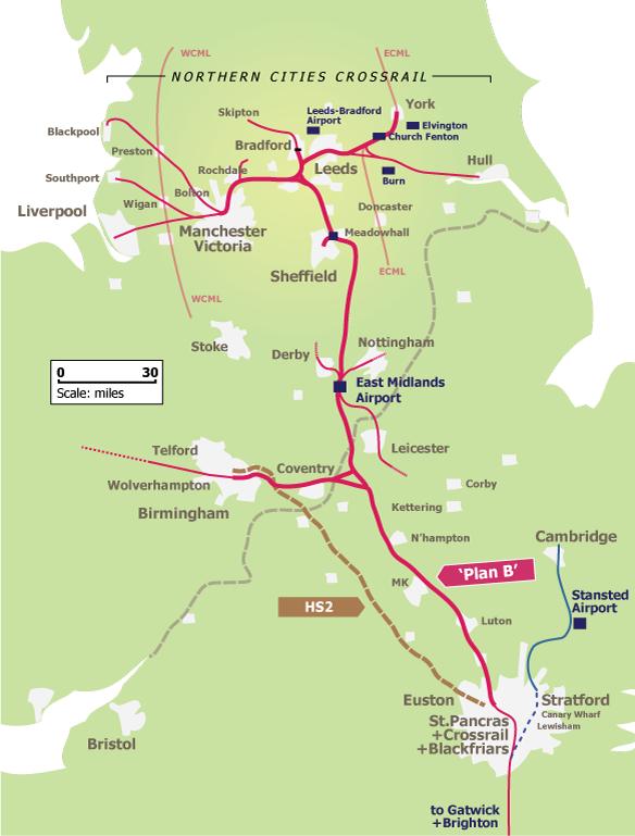 HS2 Plan B Map